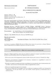 Adoption de l'ordre du jour, Approbation du compte rendu du précédent Conseil Municipal (du 20 mars), Révision du P.L.U. : Bilan de la concertation et arrêt du projet, Obligation légale de débroussaillement, plan d'action de la commune pour l'information et le contrôle, Indemnités des élus, Questions diverses.