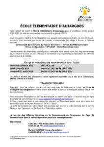 thumbnail of INFORMATION ÉCOLE AUJARGUES Permanences – rentrée 2018