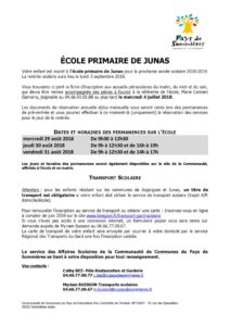 thumbnail of INFORMATION ÉCOLE JUNAS Permanences transport- rentrée 2018