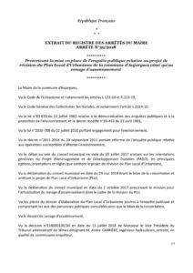 Arrêté N°39-2018 – Prescrivant la mise en place de l'enquête publique relative au projet de révision du PLU et du zonage d'assainissement