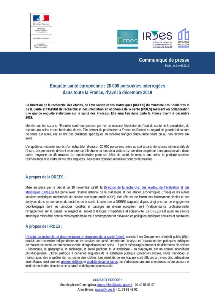 thumbnail of Enquête santé européenne 2019
