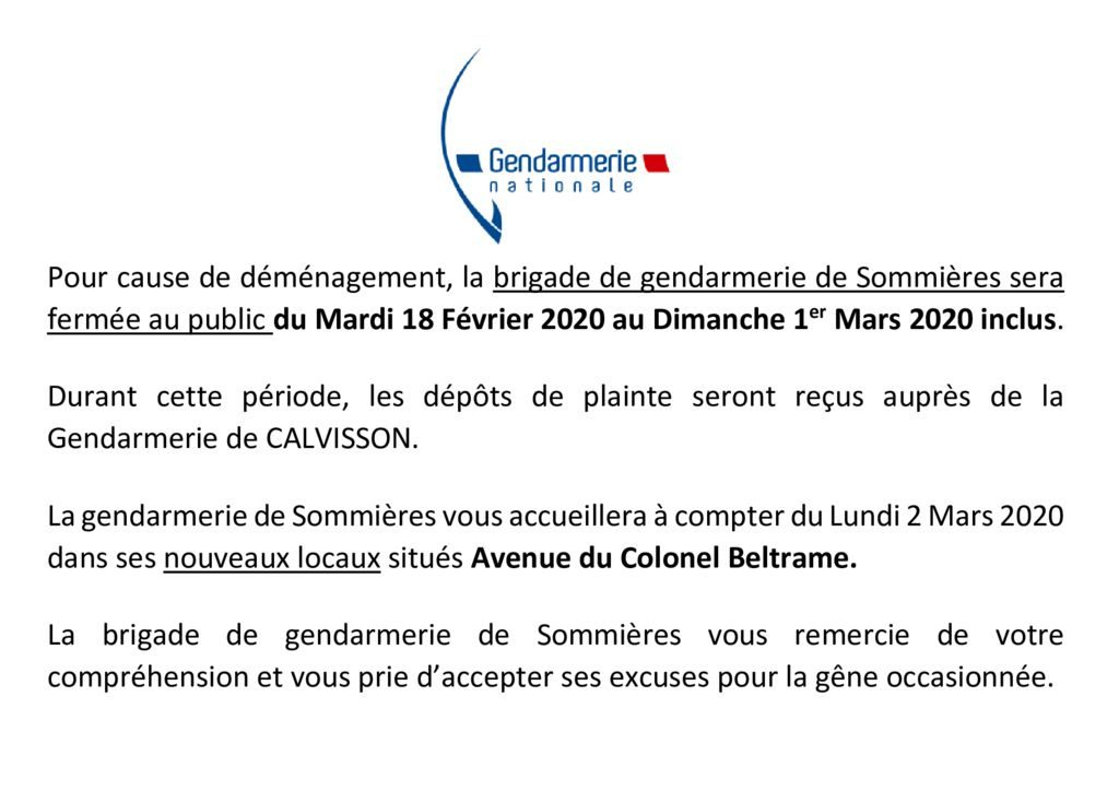thumbnail of Fermeture Gendarmerie Sommières