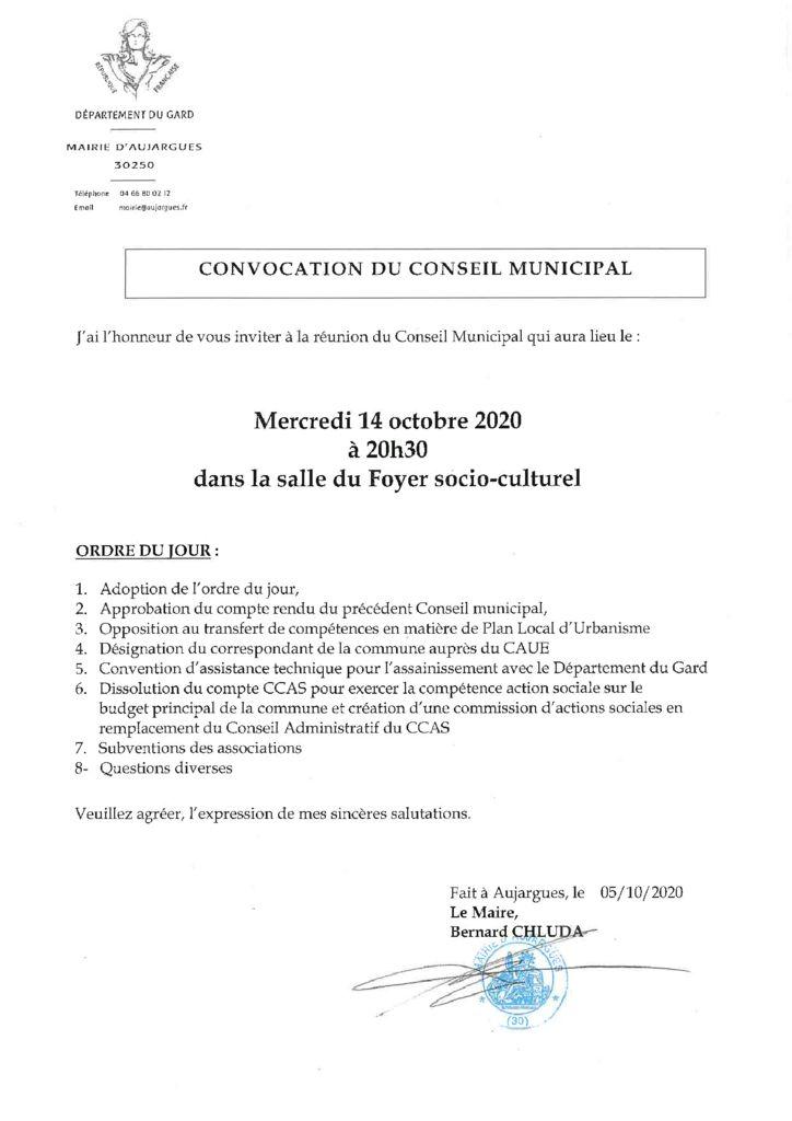 thumbnail of CONVOCATION CM DU 14 OCTOBRE 2020(1)