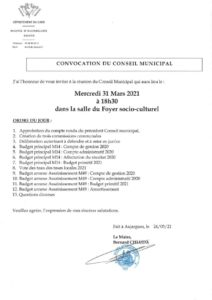 thumbnail of Convocation Conseil Municipal 31 mars 2021